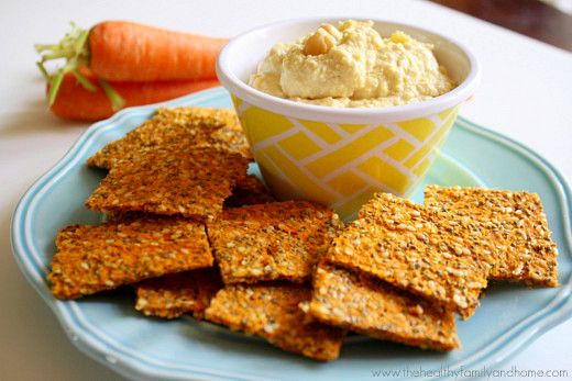Super healthy raw dehydrator crackers made with carrot pulp and healthy flax seeds and they're vegan, dairy-free, gluten-free, grain-free and paleo friendly too!