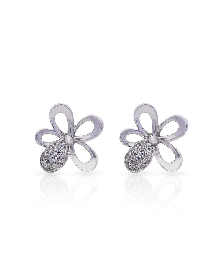 18ct White gold and diamond daisy earrings. Love Me Daisy Petal Studs – Jenna Clifford