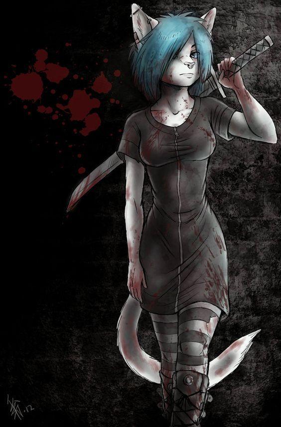Red dress zombie anime