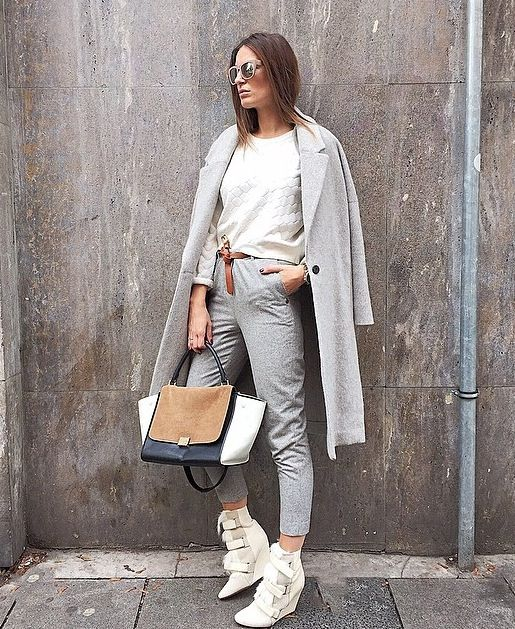 @lena_terlutter @instagram  Early spring, graphic, sporty twist, White top, light grey jacket, bag