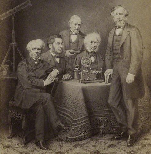 Photograph of (left to right): Michael Faraday, Thomas Henry Huxley, Charles Wheatstone, David Brewster, John Tyndall. Image credit: APPER/Public domain.