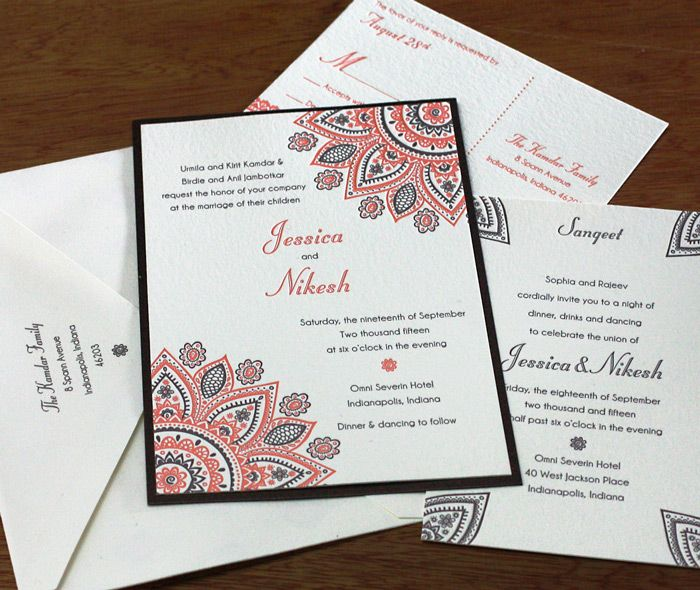 The whole set of henna inspired wedding cards with orange and brown mandala influences. Wamil | Invitations By Ajalon | www.invitationsbyajalon.com