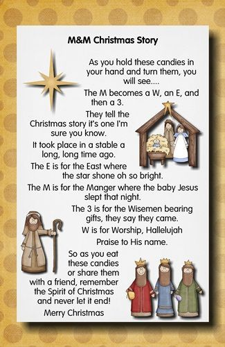 by Pam Ridenour M&M Christmas Story As you hold these candies in your hand and turn them, you will see.... The M becomes a W, an E, and then a 3. They tell the Christmas story it's one I'm sure you know. It took place in a stable a long,…Read More More