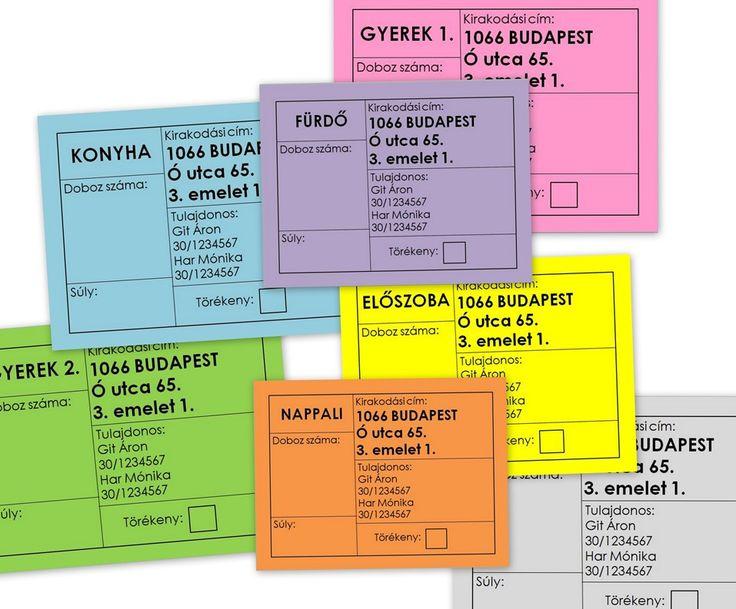 Azonosító címke dobozokhoz, költözés, letölthető címke - Colour coded home moving box labels, printable.