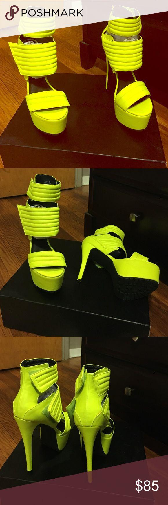 Neon yellow heels Neon yellow high platform heels with Velcro straps Jennifer chou Shoes Platforms