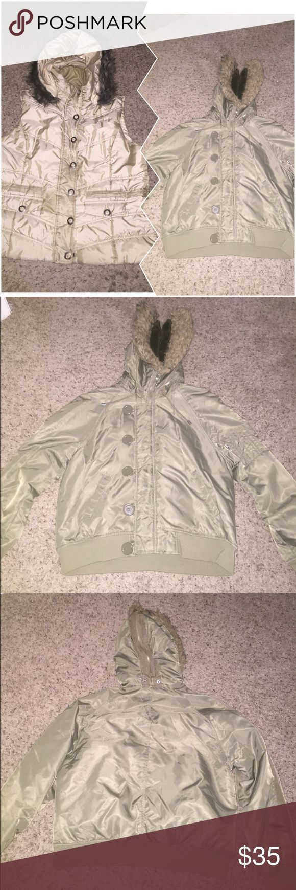 """Fur Bundle! Vest with vegan fur hood has only been worn once. Hood is detachable. It zips and buttons. Has 2 functioning pockets. 24"""" long & 24"""" wide buttoned up. Olive green jacket has a vegan fir hood also. Spandex waistband and armbands. 3 functioning pockets. Buttons and zips. 24"""" long & 23"""" wide. Both can fit L/XL and are in like new condition. Jackets & Coats Puffers"""