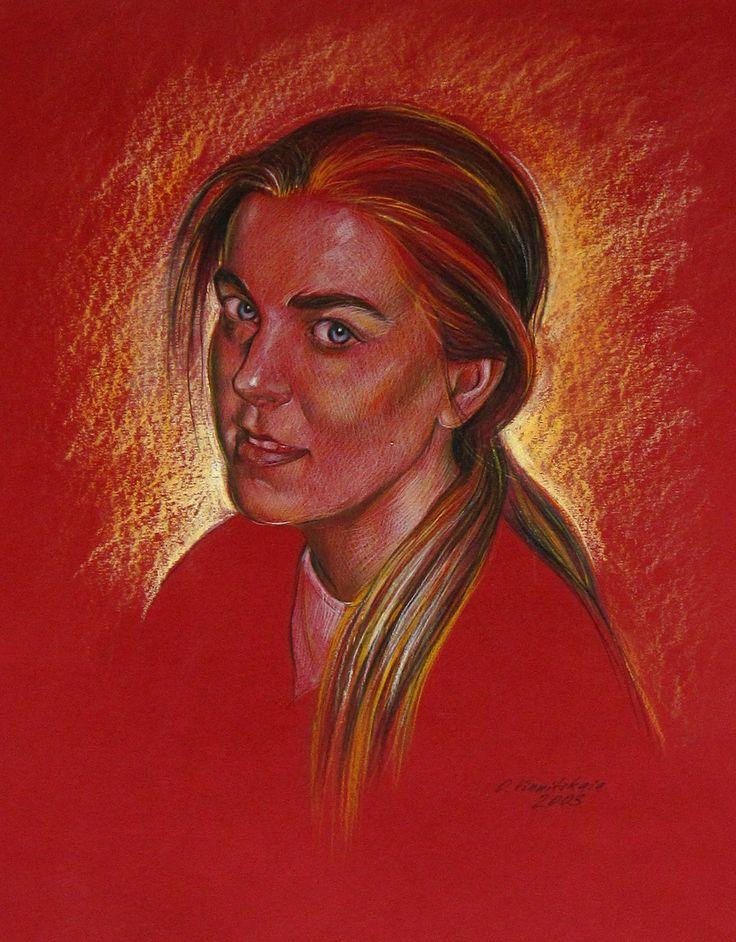 Olga Vinnitskaya. Katharina Siepermann. Buntstifte auf farbiger Fotokarton.