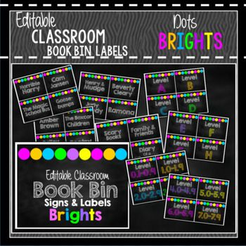 "These are printable Chalkboard & White Book Bin Labels with a ""bright DOTS"" detail. They are perfect to create a bright color scheme in your classroom. This set has everything you need to change your book corner and is editable if you need to add anything."