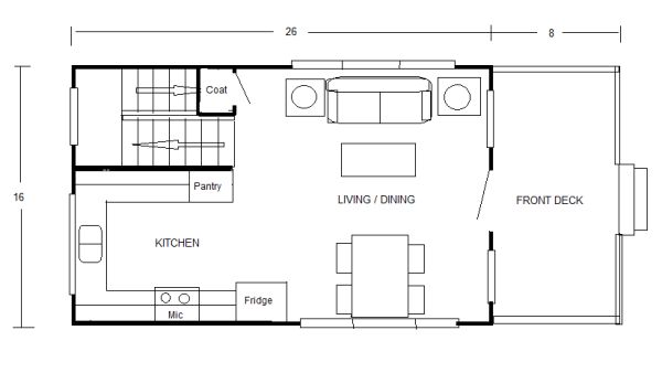 800 sq ft small cottage floor plan and design by robert olson 02 600x338   Small Cottage Floor Plans Concept Drawings by Robert Olson