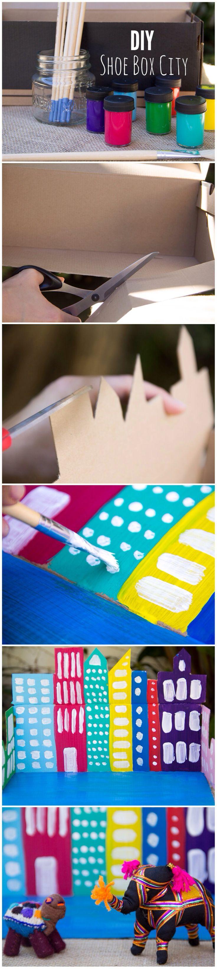 DIY Shoe Box City by Moonfrye.com Moonfrye DIY/ Kids Art Projects/ Kids Crafts/ DIY City #Moonfrye