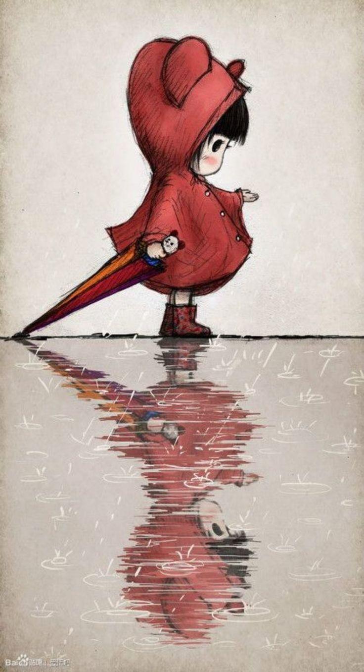 anime petit chaperon rouge sous la pluie