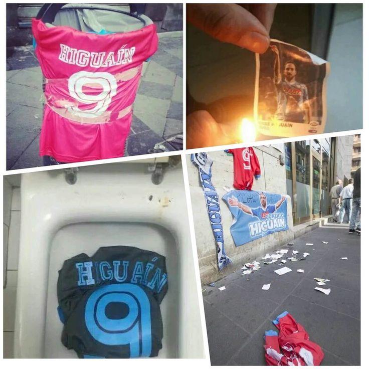 Collage di foto di Higuain a Napoli