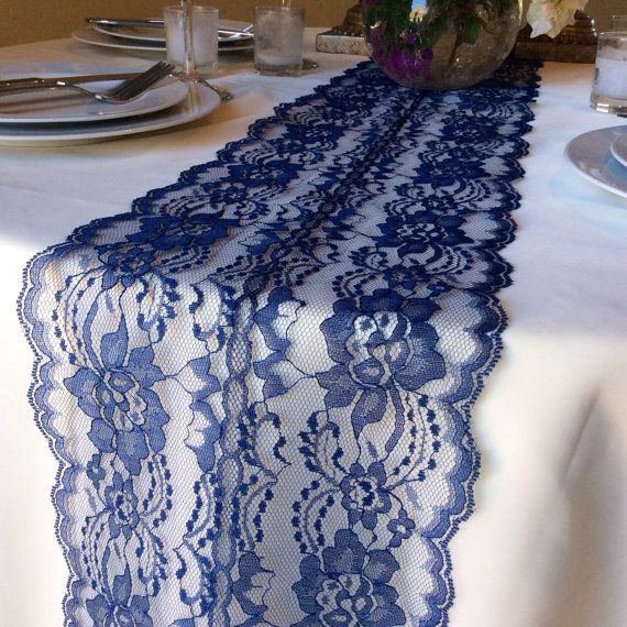 New NAVY BLUE Lace/Table Runner/3ft 11ft Long X12in Wide/Wedding Decor/Table  Decor/NAVY/Wedding Centerpiece/Ends Cut Not Sewn/Free Runner