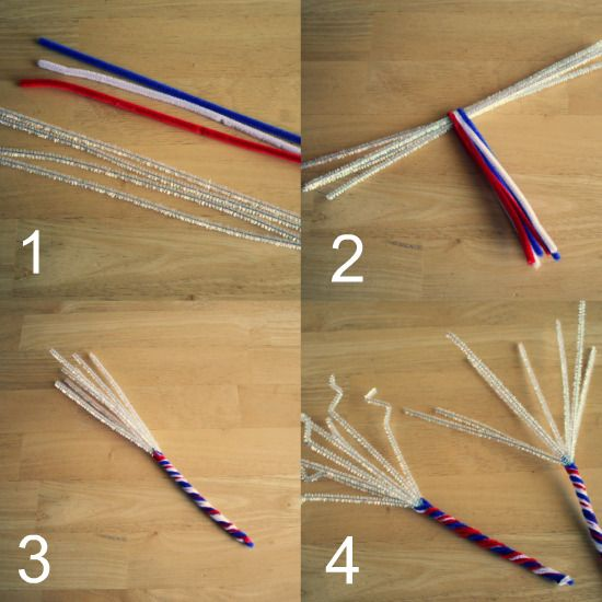 "We're just a couple of weeks away for the 4th of July and I'm already seeing fireworks for sale. If you live somewhere with ""no fire"" laws for the 4th or if your kids are a little too small for the fire, make these fun pipe cleaners sparklers instead. Supplies for Pipe Cleaner Sparklers: 2 …"