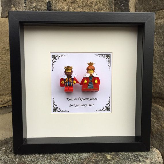 A geeky gift for him or her ~ A perfect gift for your loved one or a couple to celebrate their wedding or anniversary! This frame contains a Lego