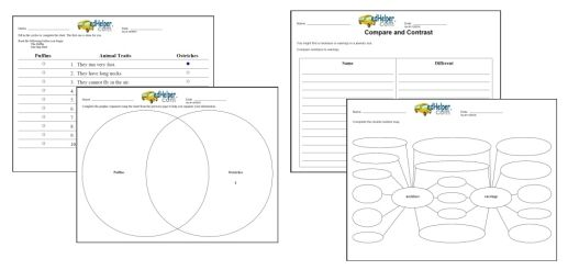 edHelper.com: Free Graphic Organizers Printables and Ideas = Venn Diagrams, Concept Maps, Writing, Character, Reading