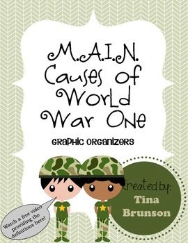 History Teachers: FREE Graphic organizer for students studying the M.A.I.N. Causes of World War One, plus a link to a quick video lesson on Youtube :)