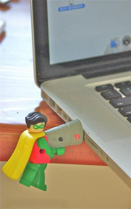 Flash drive made from vintage Robin LEGO figure