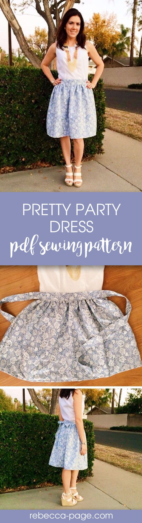 PDF sewing pattern - Perfect for all those holiday parties coming up, the Ladies Pretty Party Dress PDF Sewing Pattern has lots of options so you can dress it up or down! Pattern includes sizes XXS to 5XL.