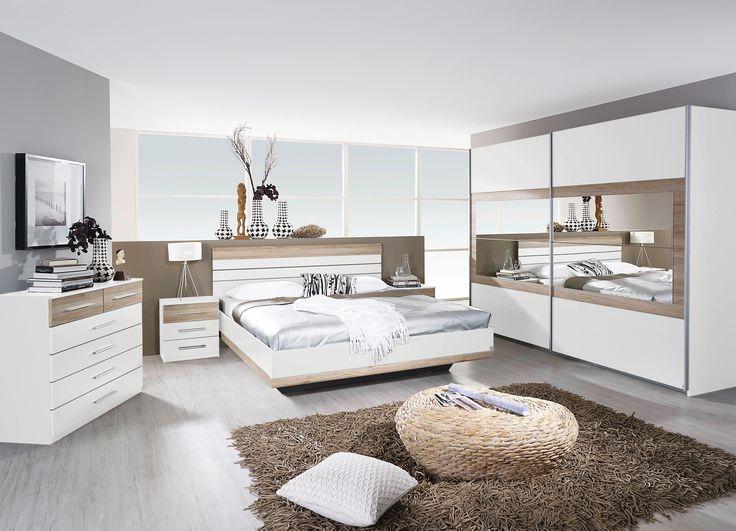 Cool Schlafzimmer mit Bett x cm alpinweiss Eiche Sanremo hell Woody online kaufen Tiefpreisgarantie Gratis Versand Auf Rechnung kaufen
