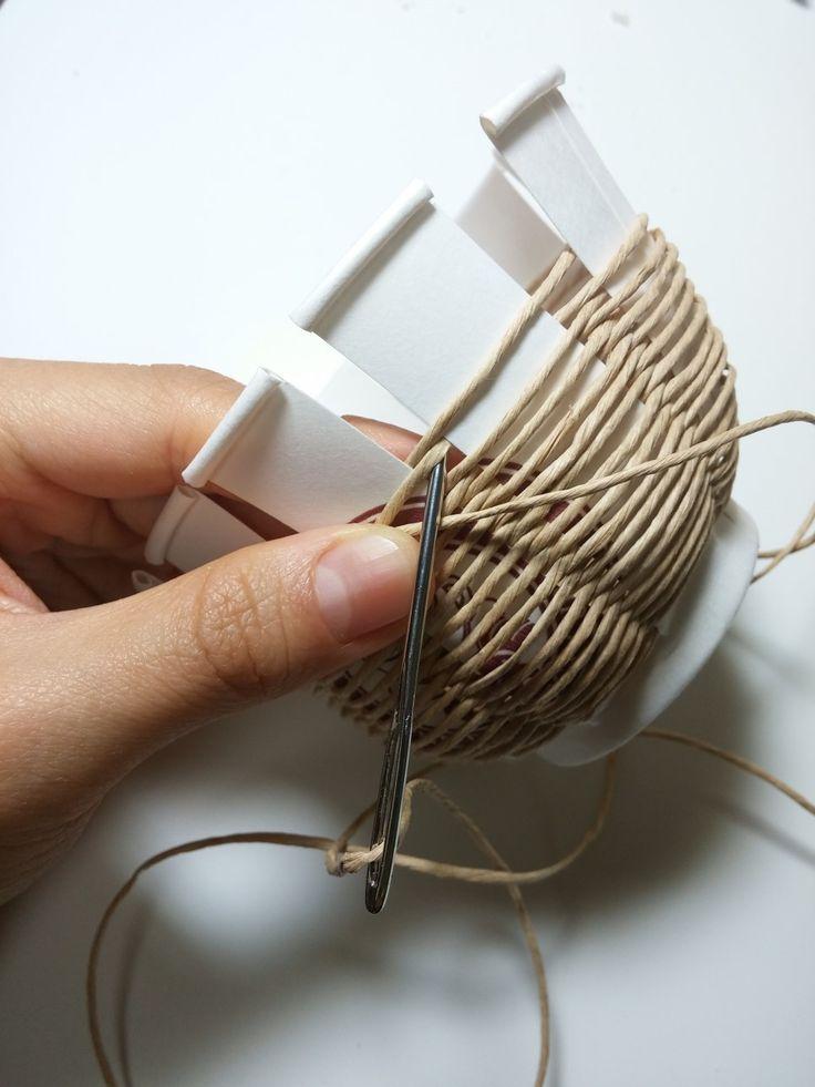 종이끈 바구니 / 초간단 바구니만들기 / 지끈공예 : 네이버 블로그