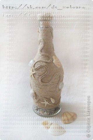 Декор предметов Декоративная бутылка Ракушки Шпагат фото 2