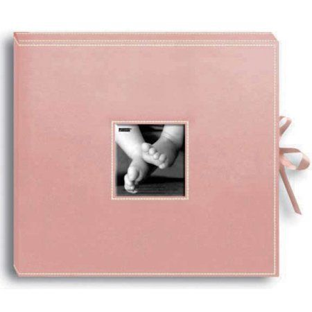 Pioneer Sewn Leatherette D-Ring Scrapbook Box, Pink