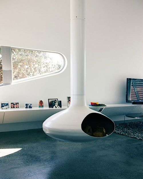Love this floating fireplace and the futuristic home it's in. desire to inspire - desiretoinspire.net - David Woolley