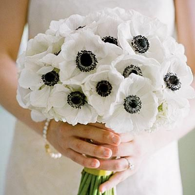 White Anemones Bouquet | White anemones create a sleek, modern look for your bouquet. | SouthernLiving.com
