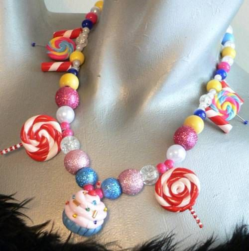 Cupcake Lollipop Candy Land Necklace For Your Katy Perry Costume. $22.00, via Etsy.