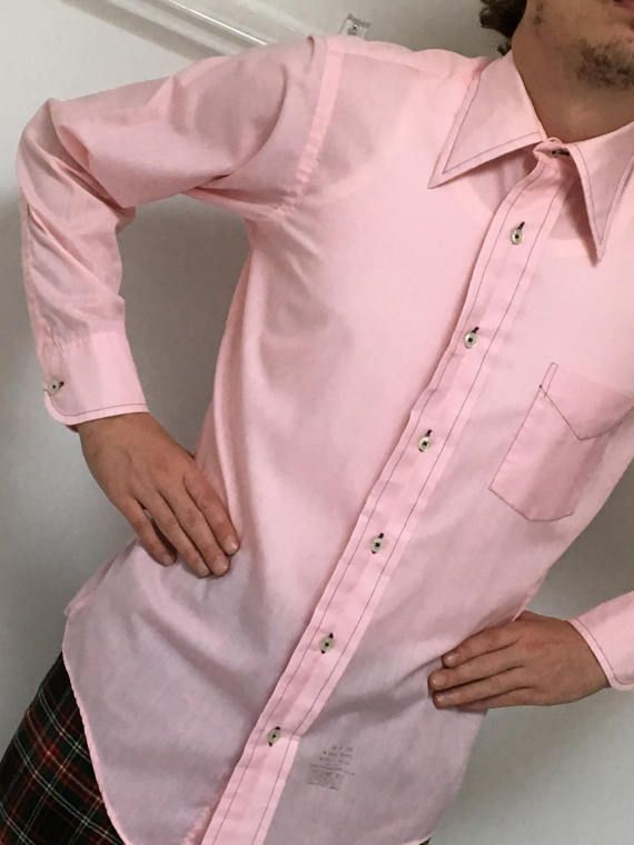 1960's MoD CaMpUs PiNk DrEss ShirT BuBBLe GuM PiNk by mightyMODERN