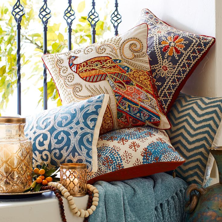 peacock inspired living room industrial boho sari pillow | pier 1 imports cushions ...