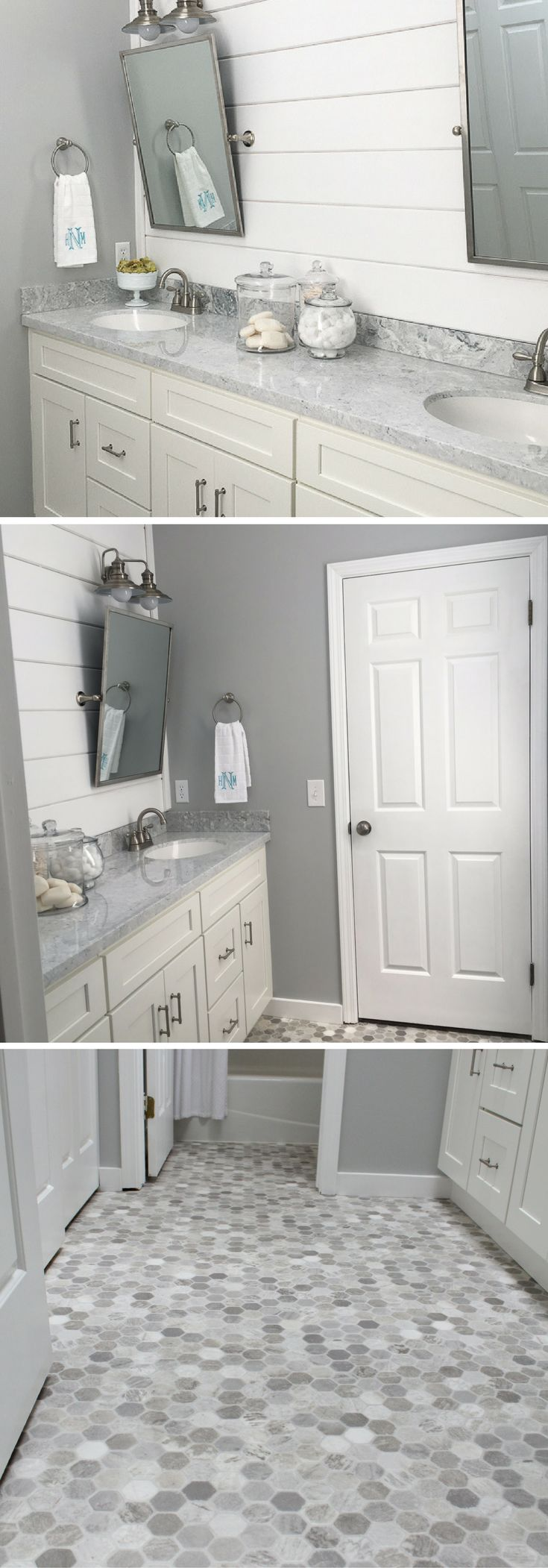 Learn how we renovated our master bathroom on a small budget. We created a custom look with low budget items. We made our white cabinets look custom with a low cost custom vanity top, and we used gray hexagon flooring for the high-end look. #farmhousebathroom #farmhousestyle #bathroomremodel