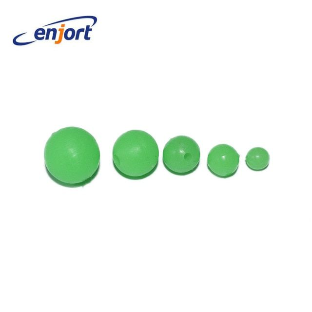 100pcs Fishing Beads Stopper Luminous Round Space Beans Stops Rubber Rig Lure