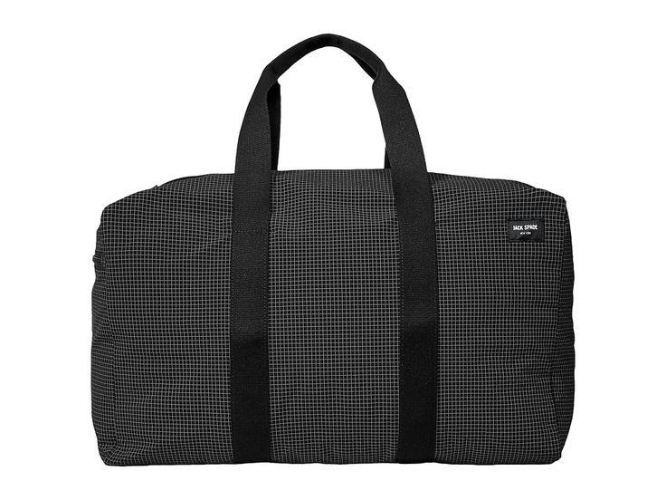 JACK SPADE JACK SPADE - PACKABLE GRAPH CHECK DUFFEL BAG (BLACK) DUFFEL BAGS. #jackspade #bags #shoulder bags #hand bags #nylon #lining #