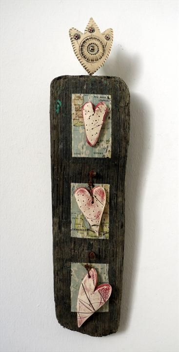 Shirley Vauvelle, Mixed Media Artist / Love Token i (Earthenware,  driftwood, vintage map):