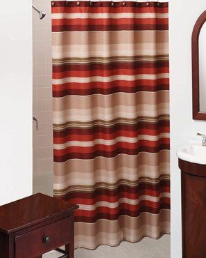 the stylish madison strip fabric shower curtain features a woven basket weave with shades of red beige and green stripes this polyester shower curtain is