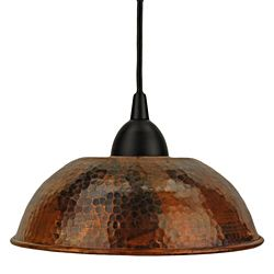 Hammered Copper   Hand Hammered Copper 8.5-Inch Dome Pendant Light (Mexico)   Overstock ...
