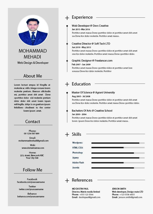 Cool About Me Cv Template Collection Di 2020