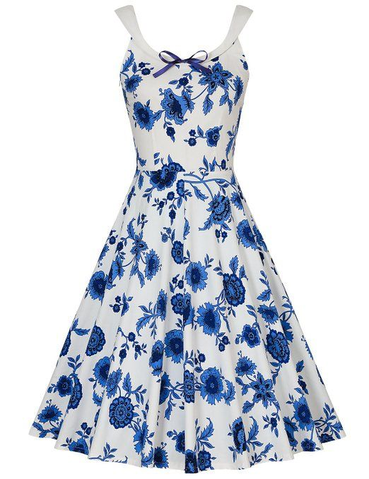 MUXXN Donna vintage anni '40 rockabilly Gonna da Sera senza Maniche(L,Blue-white Porcelain)