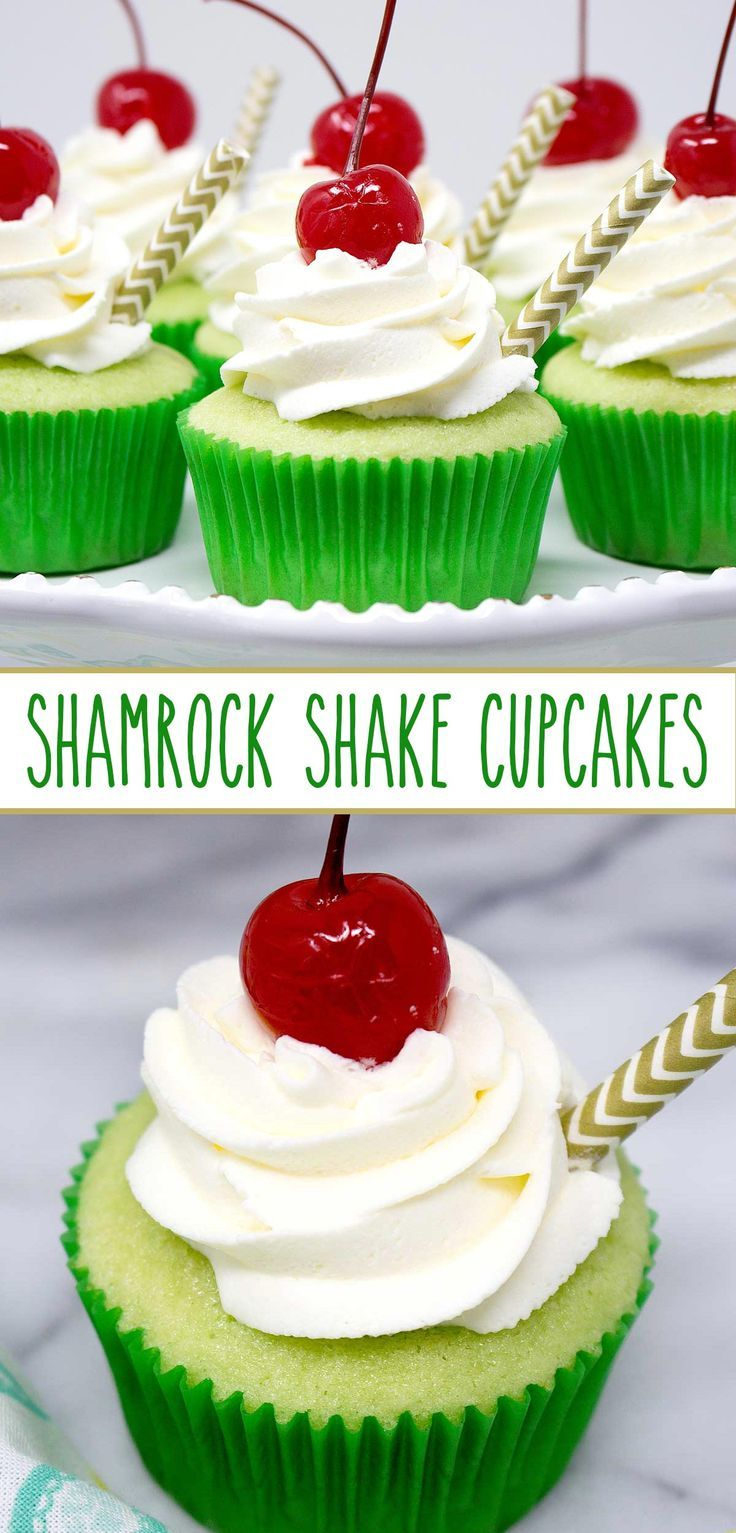 Shamrock Shake Cupcakes - a minty cupcake with homemade whipped cream and a maraschino cherry on top. It's your absolute favorite ice cream drink, Shamrock Shakes, stuffed into a cupcake and it's delicious!! via @SarahsBakeStudio