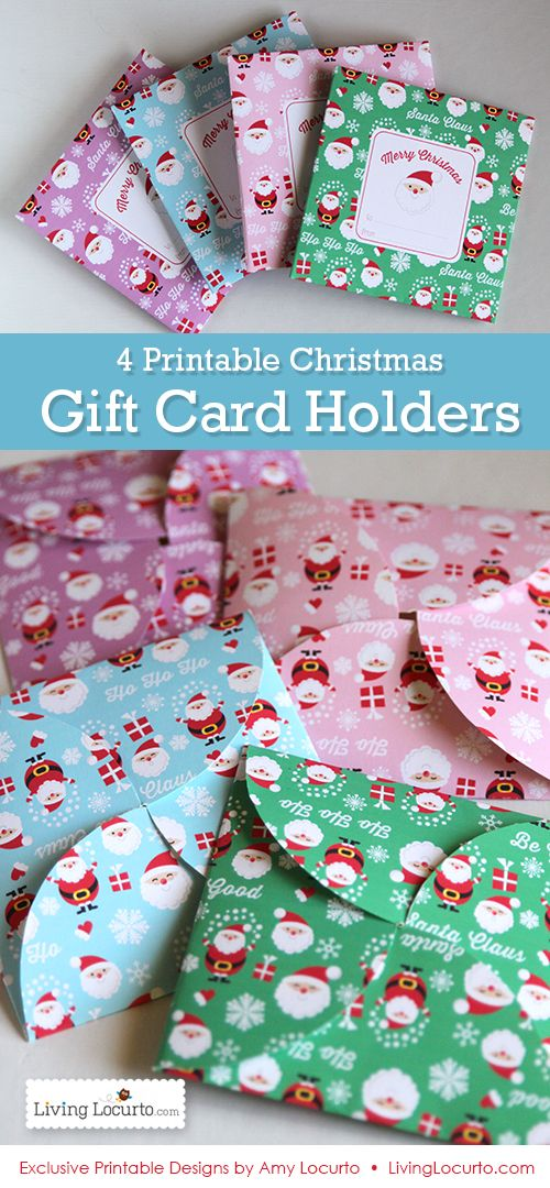 4 Printable Christmas Gift Holders Gift card holders