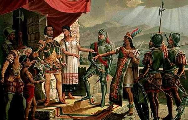 Rond 1419 heeft Hernán Cortès met de vijand van de Azteken  ( de Tlaxcalteken ) een bondgenootschap. Zijn vriendin en tolk, La Malinche heeft hem hierbij geholpen. Azteken: Midden-Amerikaanse stam die van de 12e tot de 16e eeuw over het huidige Mexico heerst