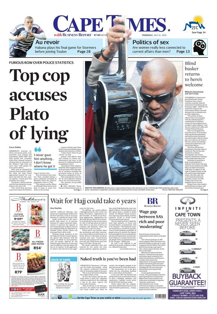 News making headlines: Top cop accuses Plato of lying