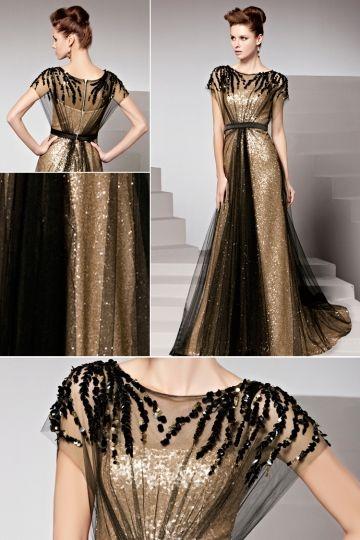 Robe dorée tulle noir pailletée ceinturée ornée de rhinestones - Persun.fr