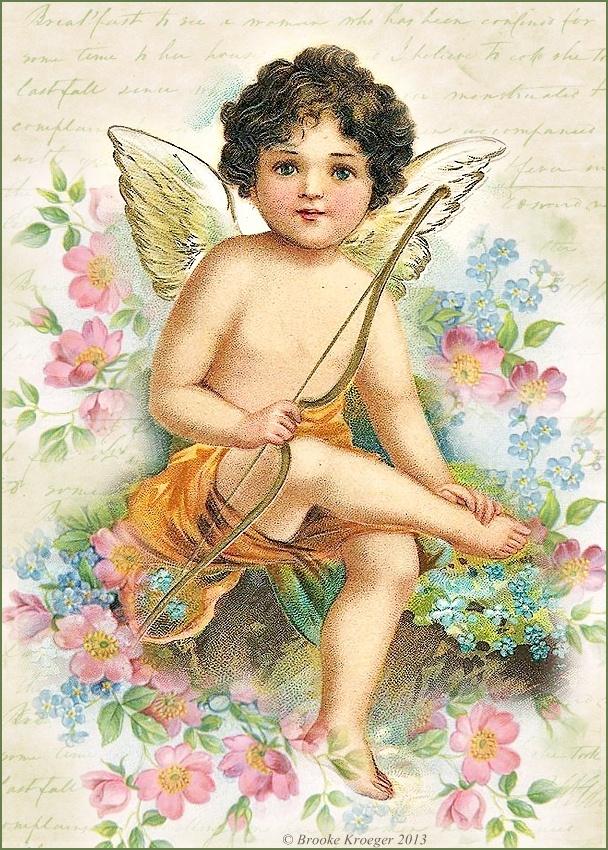 Винтажная открытка с ангелом