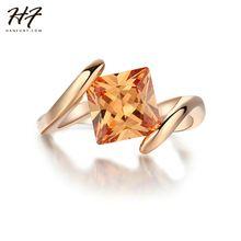 Cuadrado Naranja Cristal Rings18k Rose Moda Marca Amarillo CZ Joyas de Diamantes de Halo de Compromiso Anillos Bijoux R419(China (Mainland))