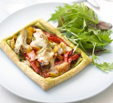 Mediterranean slices - I would swap the artichokes for sauteed chestnut mushrooms, but then I am obsessed with mushrooms!