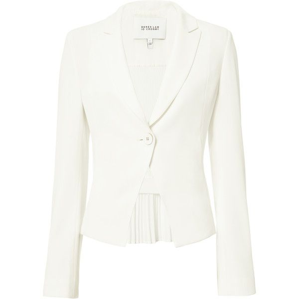 White Crepe Fluid Blazer ($495) ❤ liked on Polyvore featuring outerwear, jackets, blazers, white, 10 crosby derek lam, 10 crosby derek lam jacket, white blazers, crepe jacket and white jacket