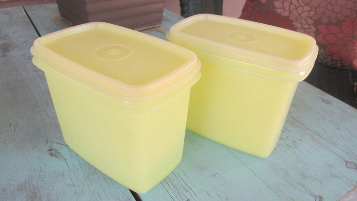Vintage Tupperware 1243-2 Pair of rectangular sheer yellow storage containers shelf savers by MarblecupcakesloftCo on Etsy